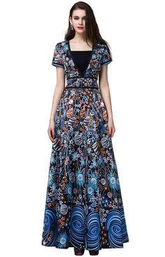 EvelynNY Women Vintage Print Floral Evening V-neck Long Maxi Party Prom Dress