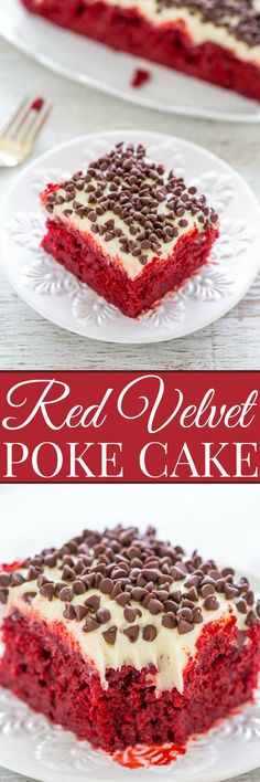 Red Velvet Poke Cake with Cream Cheese Frosting | Averie Cooks | Bloglovin'