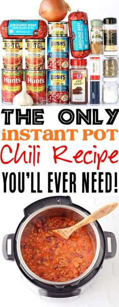 Instant pot chili recipe with minced meat! This simple in .- Instant pot chili recipe with minced meat! This simple instant pot dinner is full of flavor and always a family favorite! Get the recipe and … – # minced meat - Beef Chili Recipe, Chilli Recipes, Crockpot Recipes, Easy Recipes, Chicken Recipes, Healthy Recipes, Chili Recipe With Cinnamon, Good Chili Recipe, Crock Pot Chili
