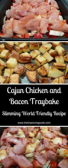 Chicken and Bacon Traybake Cajun Chicken and Bacon Traybake- great for a quick weekenight dinner and Slimming World Friendly too!Cajun Chicken and Bacon Traybake- great for a quick weekenight dinner and Slimming World Friendly too! Easy Slimming World Recipes, Slimming World Dinners, Slimming World Diet, Slimming Eats, Slimming World Cajun Chicken, Slimming World Taster Ideas, Slow Cooker Recipes, Cooking Recipes, Healthy Recipes