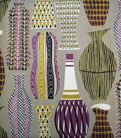 50s vases; mustard, purple, white, tan, black on grey ground