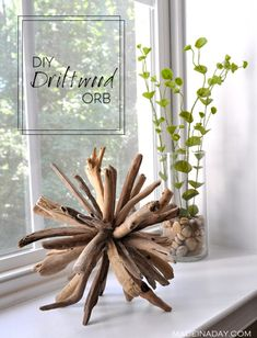 DIY Driftwood Orb Home Decor,Learn to make this unique piece with a coastal home decor theme. driftwood crafts, home decor, wood orb easy craft beachy decor Beach Crafts, Fun Crafts, Diy And Crafts, Summer Crafts, Clay Crafts, Driftwood Projects, Driftwood Art, Driftwood Ideas, Decorating With Driftwood
