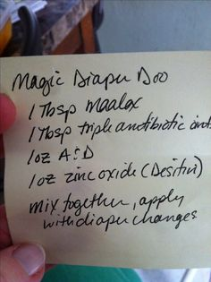 Magic Diaper Doo recipe for homemade diaper rash remedy given to me by my son's pediatrician who got this from pediatric ICU nurses.