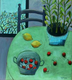 Este MacLeod-Red Cherries. Are you looking for inspiration for our Green open art exhibition, autumn 2015? See http://www.harbourhouse.org.uk for full details of entry.