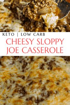 Sloppy joe covered mushroom casserole with Monterey jack cheese topping. Low-carb and keto friendly, a healthy and easy weeknight dinner idea. #ketosloppyjoes #ketocomfortfood #ketocasserole #healthysloppyjoes