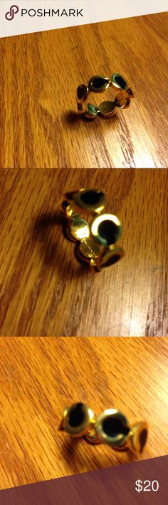 "Coach gold finish ""C"" black enamel Gold & Black coach ring Coach Jewelry Rings"