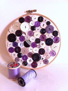 Vintage button purple black embroidery hoop art by BuckleyandBlythe