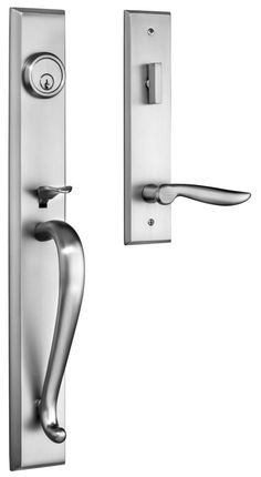 Rockwell Carmel Entry Door Handle set  in Brushed Nickel Finish retrofits into multiple bottom screwhole locations