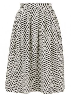 Printed High-waisted Midi Skirt Black/White