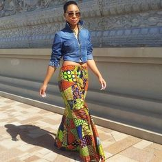 I swear there's nothing more Summery-stylish than a bright, African-print skirt paired with something denim on top. One of my favorite looks!