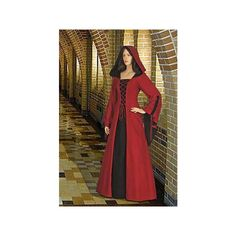 Medieval Renaissance Maiden Dress Gown With Hood ($132) ❤ liked on Polyvore featuring dresses, dark olive and women's clothing