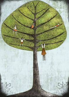 """there is a tree on the wall in the new baby's room . . . this reminds me of how we are all """"hanging on"""" waiting, anticipating.  Lovely"""
