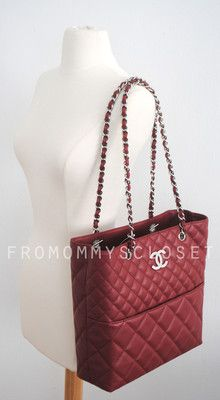 Chanel Red Quilted Leather in The Business Tote Shoulder Bag