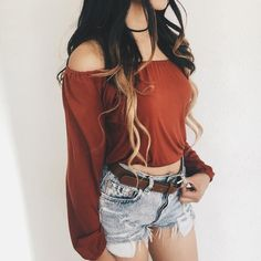 June Off Shoulder Crop Top (Rust)
