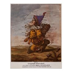 Caricature Map of Scotland 1794 Poster