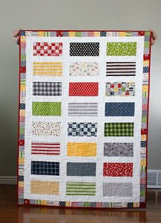 Quick and easy quilt made from just one Jolly Bar.  Pattern can be found in the Jolly Bar book from the Fat Quarter Shop!