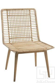 J-LINE :: Krzesło, siedzisko Chair Nany, rattan, drewno, cm