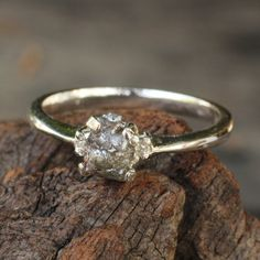 Rough diamond engagement ring in sterling by MetalStudioThailand, $165.00 I LOVE ALL OF THEIR RAW DIAMOND RINGS!