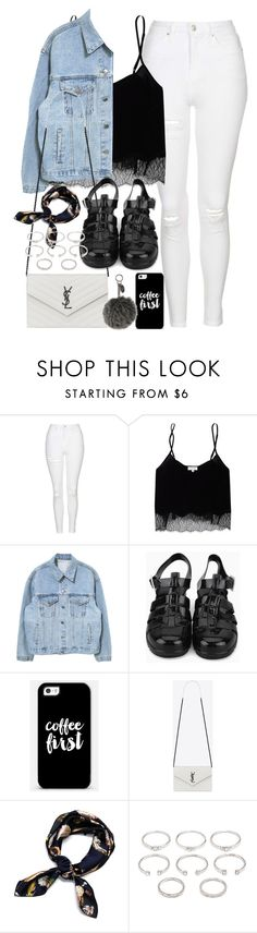 """Outfit with white jeans and jelly sandals"" by ferned ❤ liked on Polyvore featuring Topshop, Wilfred, Casetify, Yves Saint Laurent, Forever 21 and Fendi"
