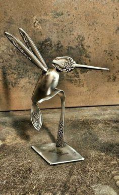 Welding Art Projects, Welding Crafts, Metal Art Projects, Metal Crafts, Fork Art, Spoon Art, Silverware Art, Metal Birds, Scrap Metal Art