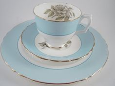 Crown Staffordshire 3 PC Teacup Saucer & Plate by MSMUnlimited