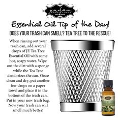 Keep your trash can clean the natural way with JE Tea Tree Essential Oil.