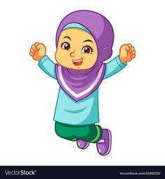 Moslem girl jumping vector image on VectorStock Student Cartoon, Girl Cartoon, Sheep Cartoon, School Border, Islamic Cartoon, Islam For Kids, Emoji Images, Anime Muslim, Hijab Cartoon