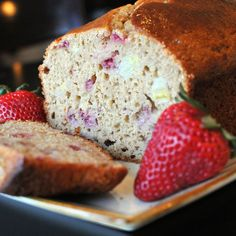 Super moist, delicious Strawberry Banana Bread made with Greek Yogurt.