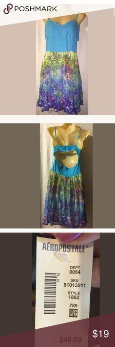 "Women Dress  Large Blue Juniors Aeropostle NWT Women Dress  Large Blue Cotton Blend Floral Juniors Sleeveless Aeropostle NWT Armpit to armpit 14"" Length 31"" Aeropostale Dresses Backless"
