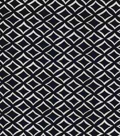 Silky Prints Stretch Satin Fabric-Geo Navy Ivory