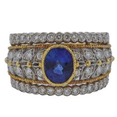 Buccellati Sapphire Diamond Gold Ring | From a unique collection of vintage more-rings at https://mario.1stdibs.com/jewelry/rings/more-rings/