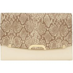 Cream snake flapover clutch ($27) ❤ liked on Polyvore