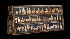 The First Cities and States (4000 - 2000 BC), Standard of Ur. Neil MacGregor discusses the Standard of Ur in this 15:00 BBC podcast. Standard of Ur from the Royal Tombs at Ur (modern Tell el-Muqayyar, Iraq). Sumerian. c. 2600–2400 B.C.E. Wood inlaid with shell, lapis lazuli, and red limestone.