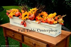 This fall table centerpiece box is a wonderful addition to my kitchen table and the best part about it is, that I can change out the flowers for every season and all I have to store is the flowers.