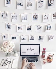 The Creative Trick to Get Your Teen Excited For Study Time Teen Desk Organization Inspiration Teen Desk Organization, Decoration Tumblr, Polaroid Wall, Polaroids On Wall, Polaroid Display, Ways To Hang Polaroids, Instax Wall, Polaroid Quotes, Tumblr Rooms
