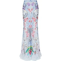 Temperley London Long Sail Skirt (£1,795) ❤ liked on Polyvore featuring skirts, saia, blue maxi skirt, long maxi skirts, long blue maxi skirt, long skirts and blue skirt