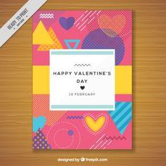 80年代のスタイルでバレンタインデーのためのカラフルなカード 無料ベクター