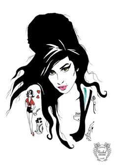 Amy Winehouse by Rachillustrates #AmyWinehouse #Tattoo #Portrait
