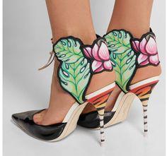 Sophia Webster  SOPHIA WEBSTER Rousseau Jungle printed satin and patent-leather sandals net-a-porter