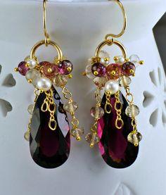 Garnet Topaz Dangling Cluster Earrings Garnet Champagne Topaz Pearl Rock Crystal Wire Wrapped Earrings