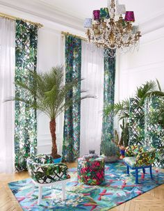 Interior design/ Christian Lacroix Home  Tropical luxury. Enchanting living room by Christian Lacroix maison. Amazing display of colors and textiles.  Christian Lacroix - Maison - Art de vivre