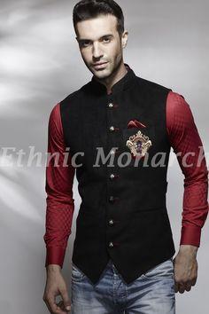 Black Nehru Jacket With Motif