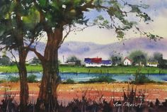 "Down by the River - 7.5x11"" original watercolor painting by Jim Oberst - $100 including U.S. shipping."