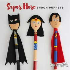 Super Hero Spoon Puppets using wooden spoons – created to look like Batman, Wonder Woman and Superman Wooden Spoon Crafts, Wooden Spoons, Wood Crafts, Projects For Kids, Diy For Kids, Crafts For Kids, Batman Crafts, Spoon Art, Crafty Kids