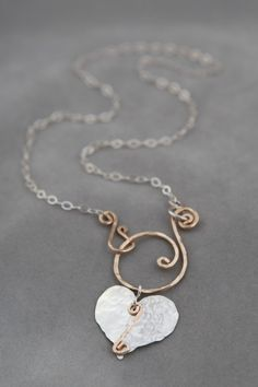 Jennifer Engel Designs LLC - Large Heart with Handcrafted Spiral Front Clasp Necklace, Handcrafted Jewelry