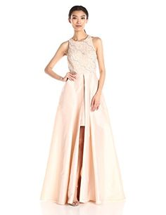 Adrianna Papell Womens Halter with Taffeta Skirt Gown Light Champagne 6 *** Continue reading at the image link.