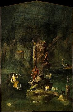 Roman wall painting: Polyphemus and Galatea in a landscape, from the imperial villa at Boscotrecase Early Imperial, Augustan last decade of the 1st century B.C.