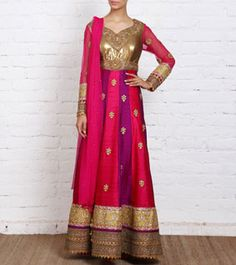 Multicoloured Raw Silk Anarkali Suit with Embroidery