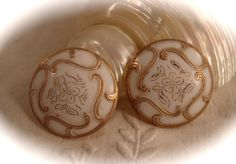 Antique MILK GLASS BUTTONS Two Vintage Gilt by DaffodilsVintage, $18.00