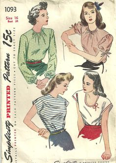Simplicity 1093 Vintage 40s Sewing Pattern by studioGpatterns, $9.50